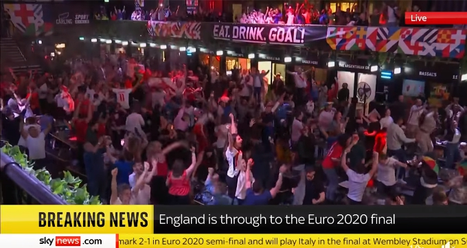 Sky News: Euro 2020: England through to first final since 1966 after beating Denmark 2-1 in extra time